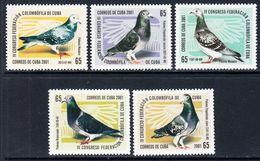 2001 Cuba Pigeons Birds Oiseaux Complete Set Of 5 MNH - Cuba