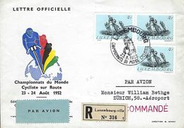 Luxembourg - Poste-Aérienne - Flugpost  23.8.1952  Lettre Officielle Recommandé  Luxembourg Zürich ( Suisse ) - Oblitérés