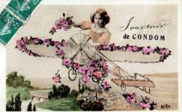 CPA  -  écrite  -  Une Fillette Dans Un Aéroplane - Souvenir De Condom ( Gers) - Scènes & Paysages