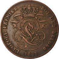Monnaie, Belgique, Leopold I, 2 Centimes, 1855, Rare, TB+, Cuivre, KM:4.2 - 1831-1865: Leopold I