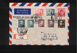 Czechoslovakia 1947 European Basketball Championship Interesting Registered Letter To USA - Basketball