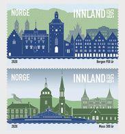 Norway 2020 - City Anniversaries - Bergen 950 Years And Moss 300 Years Stamp Set Mnh - Full Years