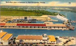 Florida Port Everglades Birds Eye View Of Entrance 1948 - Fort Lauderdale