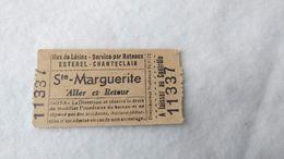 Bateaux Ship Cruise Ticket Esterel Chantecler Ste Marguerite OLD #13 - Bateaux