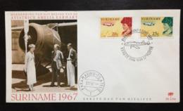Suriname, Uncirculated FDC, « Aviation », « Famous Women », « Amelia Earhart », 1967 - Surinam