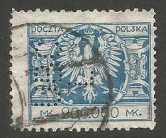 POLAND. PERFIN UBCL. 2000,000M USED. - 1919-1939 Republic