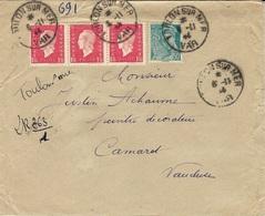 1944 - Enveloppe RECC. Provisoire  De TOULON-sur-MER Affr.  è 5 F. - 1921-1960: Periodo Moderno