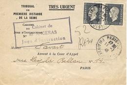 1946- Lettre De PARIS -22 Palais De Justice RECC. Provisoire  Affr Paire Marianne 4,50 F - Marcophilie (Lettres)