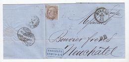 Italien 1868 Brief Von Mailand Nach Neuchatel Mit EF+Bahnpoststempel - Non Classés