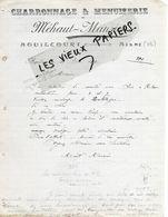 02 - Aisne - AGUILCOURT - Facture MEHAUT-MANSION - Charronnage, Menuiserie - 1913 - REF 149A - France