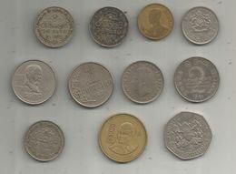 JLR , Monnaie , Inde , Mexique , Brésil, Espagne , Kenya.... , 2 Scans , LOT DE 11 MONNAIES , Frais 4.15 E - Coins & Banknotes