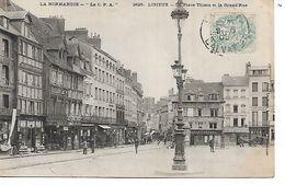 14 - LISIEUX - La Place Thiers Et La Grande Rue  (Animée, Commerces - 1906) - Lisieux