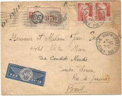 GANDON 25FR GRAVE PAIRE LETTRE REC AVION PARIS 96 25.2.1947 POUR LE BRESIL AU TARIF - 1945-54 Marianne De Gandon