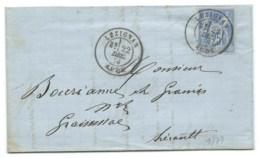 SAGE 25c SUR ENVELOPPE / LEZIGNAN HERAULT POUR GRAISSESSAC 1874 - 1849-1876: Classic Period