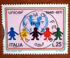 1971 ITALIA Bambini E Stemma Dell'UNICEF   Lire 25 Usato - 1971-80: Gebraucht