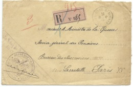 ENVELOPPE RECOMMANDEE / ST MAIXENT DEUX SEVRES 1916 POUR PARIS / CACHET DEPOT DES 17e ET 18e CHASSEURS - Marcophilie (Lettres)