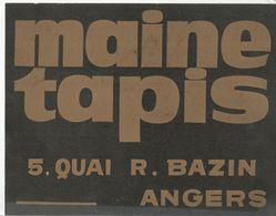 JLR , Publicité , Plaque En Carton , MAINE TAPIS , ANGERS , 270 X 215 Mm,  Frais Fr 2.55 E - Plaques En Carton