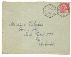 GANDON 15FR ROUGE C. HEX BOREY 1.1.1951 HAUTE SAONE LETTRE JOUR DE L'AN - Postmark Collection (Covers)