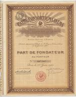 Action, Titre, Pathé Consortium Cinéma, Film, Part De Fondateur Au Porteur,1921,23 Coupons - Cinéma & Theatre