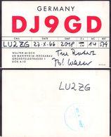 QSL DJ9GD Mannheim, Alemania To LU2ZG  Antartida Argentina - 27/10/1966 - Cygnus - Radio