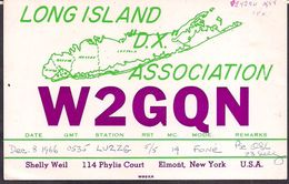 QSL W2GQN Long Island CA USA To LU2ZG  Antartida Argentina - 08/12/1966 - Cygnus - Radio