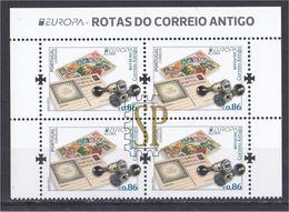 Portugal EUROPA 2020 Rotas Correio Antigo Açores Mini Sheet Postmark Education Poste Europe Posteurop - Post