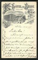 Lithographie Clair De Lune Nice, Hotel De Berne En Face De La Gare - Transport Ferroviaire - Gare
