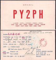 QSL PY2PH - San Pablo, Brasil To LU2CN  Argentina - 19/04/1967 - Cygnus - Radio