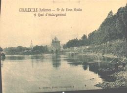 08 - CHARLEVILLE MEZIERES - ILE DU VIEUX MOULIN ET QUAI D'EMBARQUEMENT - ENFANT PECHEUR A LA LIGNE - Charleville