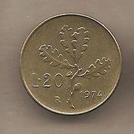 """Italia - Moneta Circolata Da 20 Lire """"ramo Di Quercia"""" Km97.2 - UNI256 - 1974 - 1946-… : Republic"""