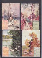 LUXEMBOURG LOT 4 CARTES FLEURS ENVOYEES DEPUIS REMICH - 1895 Adolphe De Profil