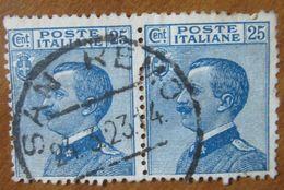 1908 ITALIA REGNO Re Vittorio Emanuele III - Michetti Volto Sinistra - Coppiola 25 Centesimi Usato - 1900-44 Victor Emmanuel III.