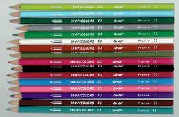 Lot De 16 Anciens Crayons De Couleur Tropicolor 53 Conté (France) Tous Différents Et Presque Neufs - Unclassified
