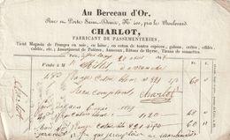 """PARIS : Facture """"Au Berceau D'Or"""" Rue Et Porte St. Denis, N° 400 - CHARLOT, Fabricant De Passementeries. Tirans De Sonne - France"""