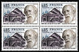 Bloc De 4 Timbres-poste Gommés Neufs** - Théâtre Du Peuple De Bussang Maurice Pottecher - N° 1846 (Yvert) - France 1975 - France