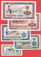 ALBANIE -Série De 5 Billets SPECIMEN De 1976 - NEUF - Albanie