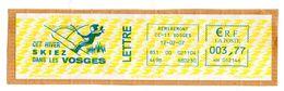 Affranchissement EMA Bleu 3,77€  Cet Hiver Skiez Dans Les Vosges Oblitération 12/02/207 Sur Fragment - Poststempel (Briefe)