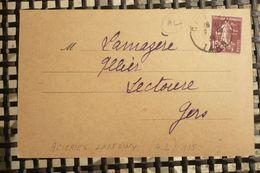 Perfin Semeuse Perforé AL118 Sur CP Acieries Longwy Toulouse 1933 J Servolles Représentant Cordes Tarn - France