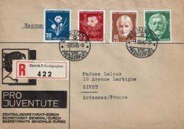 """T.P. 423/6 S/Lettre Recommandée Illustrée """"PRO JUVENTUTE"""" De ZÜRICH (3-XII-45) à GIVET (France) - Suisse"""