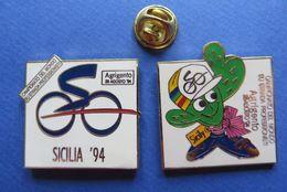 2 Pin's,CYCLISME,SICILIA 94,AGRIGENTO SICILY,VELO-SPORT,ITALIA,CACTUS - Cyclisme
