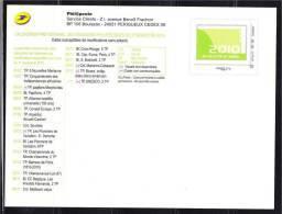 Carte Entier Postal Monde 20g Programme Philatélique 2010 Le 2ème Semestre. - Enteros Administrativos