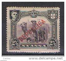 NYASSA - VARIETA':  1921  SOPRASTAMPA  II° TIPO  -  1/4 C./2 1/2 R.  NERO  E  BRUNO-VIOLETTO  L. -  YV./TELL. 82 A - Nyassa
