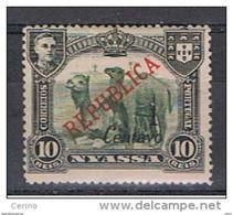 NYASSA - VARIETA':  1921  SOPRASTAMPA  II° TIPO  -  1 C./10 R.  NERO  E  VERDE-OLIVA  L. -  YV./TELL. 85 A - Nyassa