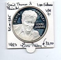 SAINT THOMAS & PRINCIPE 1000 DOBRAS 1993 ZILVER PROOF ELVIS PRESLEY - São Tomé Und Príncipe