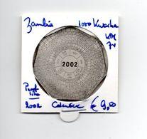 ZAMBIA 1000 KWACHA 2002 PROOFLIKE CALENDER - Zambie