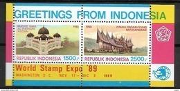 1989 MNH Indonesia Block 70, Postfris** - Indonesia