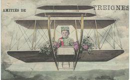 Amitiés De TREIGNES - RARE CPA - Thème AVIATION - Cachet De La Poste 1911 - Viroinval