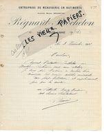 02 - Aisne - VAILLY-SUR-AISNE - Facture REGNARD-BROCHETON - Menuiserie De Bâtiments - 1912 - REF 149A - France