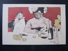CPA - ILLUSTRATEUR - RÜDOLF BAYER ?  - COUPLE A TABLE - B.K.W.I. - Künstlerkarten