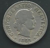 Suisse Switzerland 10 Rappen 1884  B  Rappens - Laupi 12607 - Suisse